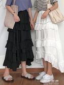 中長款半身裙女夏韓版百搭寬鬆高腰顯瘦荷葉邊蛋糕裙長裙 可可鞋櫃