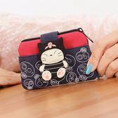除舊迎新 可愛貓咪女韓國帆布藝硬幣迷你小零錢包