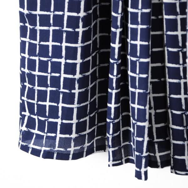 【MASTINA】滿版格子洋裝-深藍 網路獨家洋裝