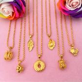 新款沙金歐幣項鏈仿真黃金色鎖骨鏈女葉子吊墜結婚鍍金飾品不掉色