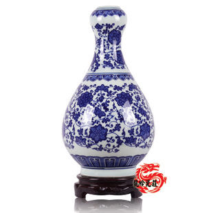 景德鎮陶瓷器花瓶 官窯古典纏枝藤青花瓷