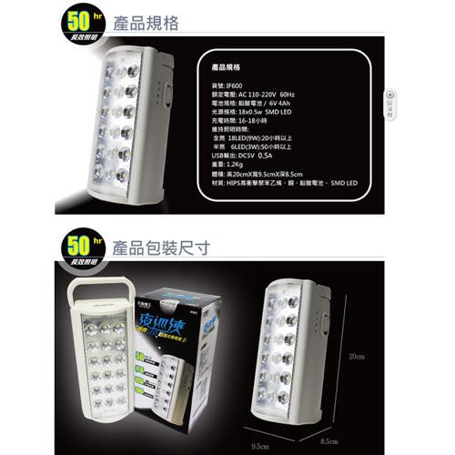 *元元家電館*【太星電工】夜巡俠超亮LED充電式照明燈 IF600