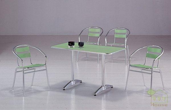 [家事達] 台灣OA-524-4/5 蘋果綠鋁合金休閒桌椅組 餐桌椅組