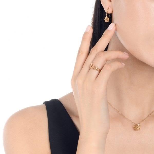 點睛品 V&A bless系列 18KR玫瑰金皇冠鑽石項鍊