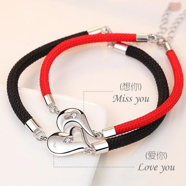 手鍊 S925銀飾品情侶手鍊一對韓版學生簡約男女百搭閨蜜潮紅繩 都市韓衣