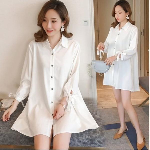 初心 翻領 洋裝 【D0298】 韓系 純色 白色 長袖 娃娃裝 七分袖 襯衫洋裝