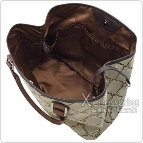 LONGCHAMP 復刻格紋設計皮革織帶托特肩背包(咖啡)