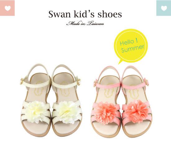 Swan天鵝童鞋-浪漫夏日花朵涼鞋 3842-米