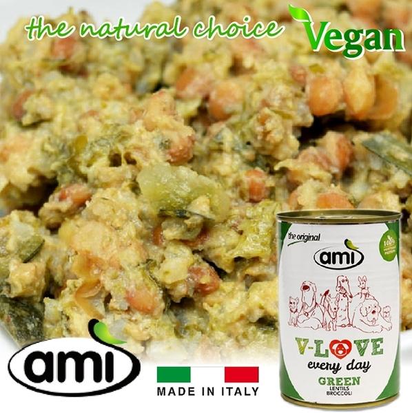 AMI Dog 阿米狗罐頭400g(綠)蔬食-扁豆花椰菜★愛家嚴選純素寵物食品 素食狗罐頭 人用等級飼料