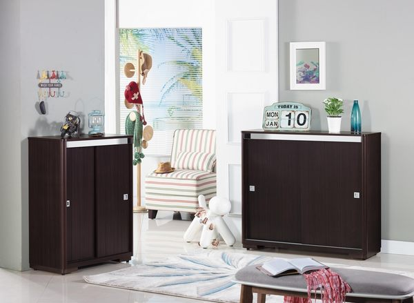 【森可家居】拉特3尺胡桃推門鞋櫃(木心板) 7JX276-4 木紋質感