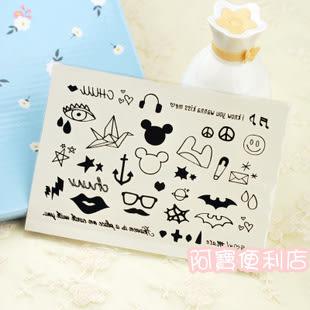 刺青貼紙 CHUU 星星 字母 皇冠 愛心 玫瑰 style 日本 彩繪 可愛 黑白 紋身 A0004