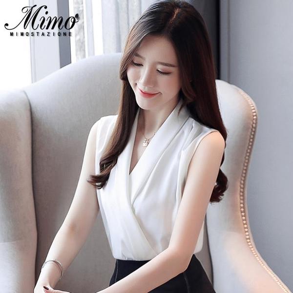 無袖很仙的上衣洋氣短袖女裝2021新款潮流時尚氣質超仙女雪紡襯衫