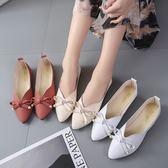 甜美女鞋淺口尖頭舒適平底鞋絨面蝴蝶結單鞋豆豆鞋女 格蘭小舖