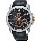 【台南 時代鐘錶 SEIKO】精工 Premier 人動電能萬年曆時尚腕錶 SNP149J2@7D56-0AE0E 皮帶 黑 43mm