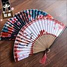 扇子日式和風絹布竹骨折疊扇子日用折扇鏤空夏季