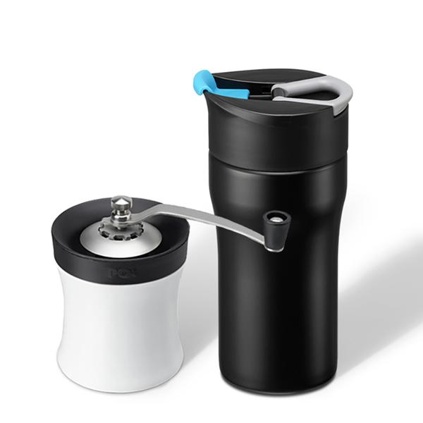 【PO:Selected】手做咖啡保溫二件組(手動式研磨器/便攜法壓保溫咖啡杯12oz-共4色)