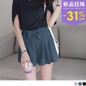OB嚴選《BA3358-》質感純色綴蝴蝶結綁帶後腰鬆緊打褶造型短褲.3色