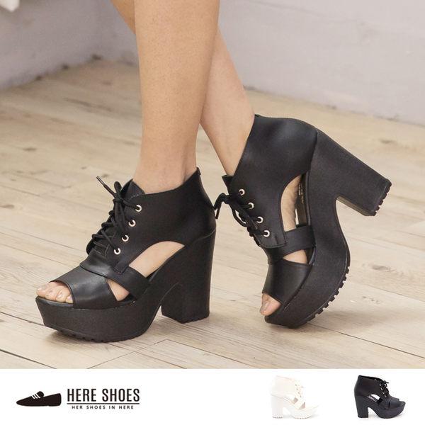 [Here Shoes]2色 前魚口側簍空復古 後拉鍊防水台 綁帶踝靴高跟短靴 ◆MIT台灣製─KDW2772