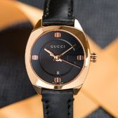 GUCCI Black Dial 錶盤G字樣玫瑰金黑面真皮腕錶/29mm YA142509 熱賣中!