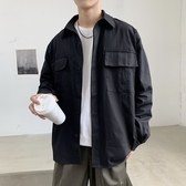 外套男韓版潮流寬鬆休閒帥氣百搭潮牌學生上衣工裝夾克襯衫男寸衣 快速出貨