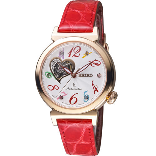SEIKO 精工 LUKIA 心型鏤空繽紛機械腕錶 4R38-01G0R SSA832J1
