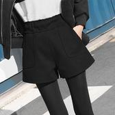 特賣毛呢短褲毛呢短褲女秋冬季2020寬鬆高腰闊腿a字打底靴褲冬款外穿秋款