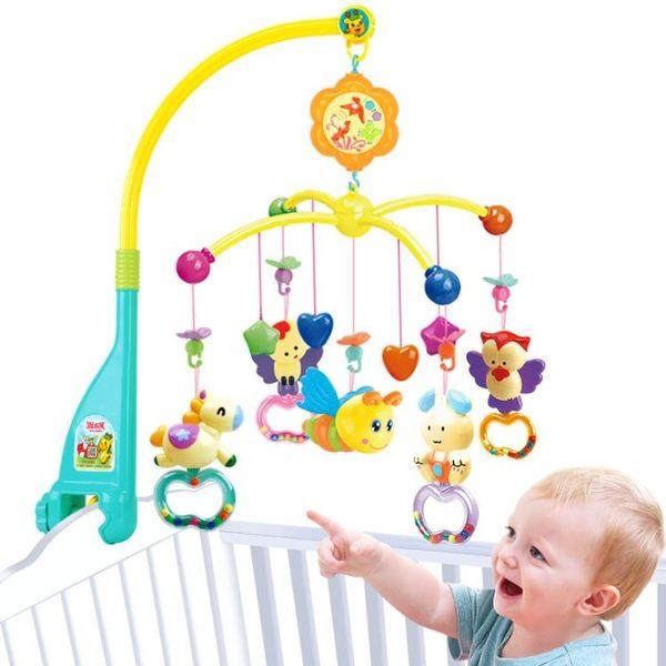 新生嬰兒寶寶床鈴玩具音樂旋轉床頭鈴【一周年店慶限時85折】