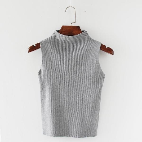 半高領韓版修身短款無袖小吊帶背心女外穿性感打底針織衫內搭上衣 錢夫人