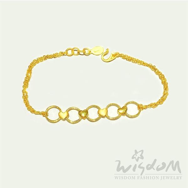 威世登 黃金心型雙鍊手鍊 金重約1.67~1.69錢 GC01624-ADXX-FIX
