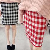 高腰千鳥格針織短裙 迷你裙 合身包臀毛線短裙 2色【RK67292】