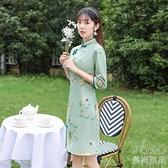 中國風洋裝 小個子旗袍2021年輕款少女時尚中國風鹿皮絨新式改良清新連衣裙 快速出貨