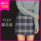 現貨 PUFII-褲裙 學院風格紋撞色毛呢短褲裙 3色-1206 現+預 冬【ZP15708】