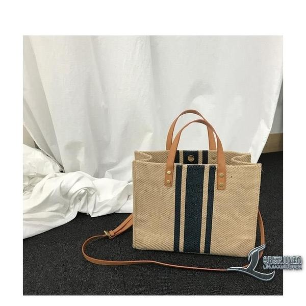 時尚女士側背包手提公文包職業通勤條紋簡約大容量帆布包【邻家小鎮】