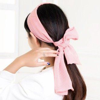 ►多功能條紋髮帶 韓國時尚多用髮帶頭飾 領巾圍巾配飾【B5050】