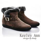 ★2015秋冬★Keeley Ann 甜美氣息~溫暖兔毛絨邊釦帶短靴(深咖啡色)