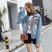 牛仔外套 52906 模特牛仔女裝外套上衣夾克短款春秋磨破洞毛邊韓版修身 辛瑞拉