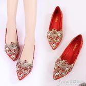 秀禾鞋中式婚鞋大小碼平底新娘鞋紅色尖頭婚禮鞋刺繡紅鞋平跟水鑽 時尚芭莎