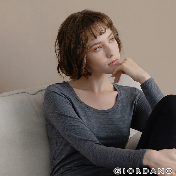 【GIORDANO】女裝G-WARMER PLUS+圓領極暖衣-41 深花灰