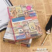 記事本歐式復古彩頁日記本精裝創意手賬手繪插畫筆記本子學生手帳本禮品 陽光好物
