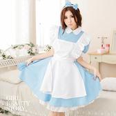 SISI【E7007】萌萌噠水藍色愛麗絲夢遊仙境女僕裝角色扮演Cosplay女傭服