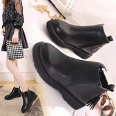 短靴 女英倫時尚平底馬丁靴百搭學生短筒流蘇靴子
