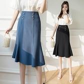 半身裙女中长款2021春夏百搭显瘦鱼尾A字裙知性优雅高腰垂感裙子