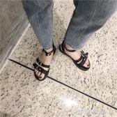 純色簡約百搭平底鞋外穿女士涼鞋夏防滑露趾平跟鞋 優家小鋪