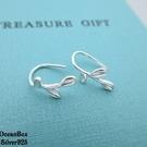 §海洋盒子§一體成形小樹葉造型925純銀耳環.垂墜耳環