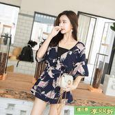 雪紡連體褲女2018新款韓版時尚寬鬆收腰顯瘦碎花V領連身裙短版