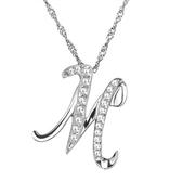項鍊 925純銀 鑲鑽吊墜-字母M生日情人節禮物女飾品73dj22【時尚巴黎】