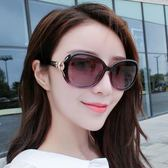 新款時尚復古太陽鏡圓臉墨鏡女潮偏光眼鏡長臉眼睛大臉  初語生活