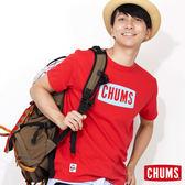 CHUMS 日本 男 Breezing 吸濕快排 LOGO短袖T恤 紅/藍 CH011030R009