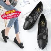 豆豆鞋女春2019新款韓版百搭內增高工作鞋女黑色皮鞋平底坡跟單鞋 好再來小屋