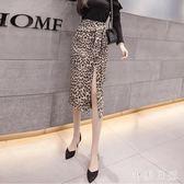 一步裙 性感包臀豹紋半身裙女秋裝新款高腰中長款開叉包臀A字裙 XN3751『小美日記』